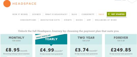 Headspace prix